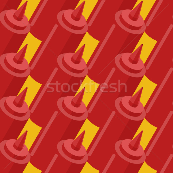Ketchup bottle fastfood seamless pattern. Fast food seasoning ba Stock photo © MaryValery
