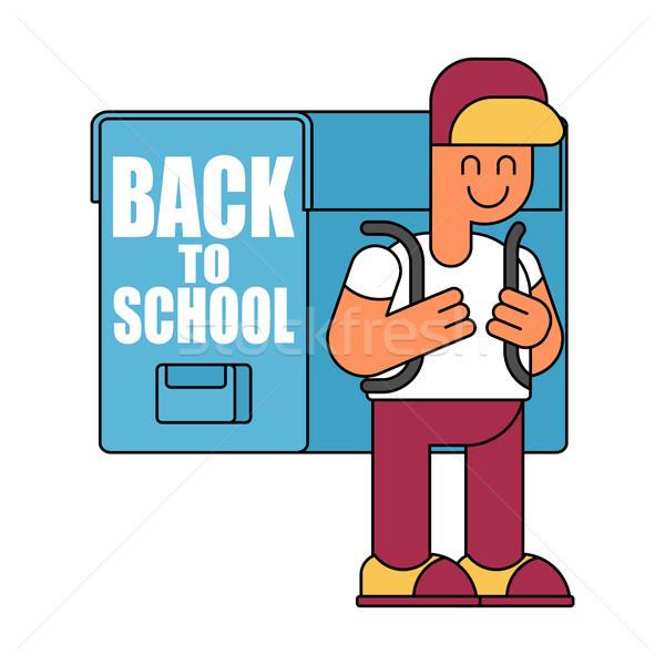 Снова в школу мальчика большой иллюстрация школьник школы Сток-фото © MaryValery