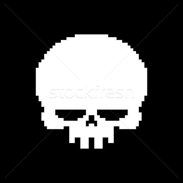 Skull pixel art. Head of skeleton pixelated isolated on white ba Stock photo © MaryValery