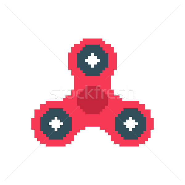 Spinner pixel art. Fidget finger toy pixelated. Anti stress hand Stock photo © MaryValery