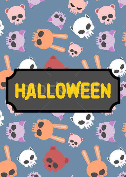 Plakat Kunstwerk Buch Stil Halloween Tier Stock foto © MaryValery