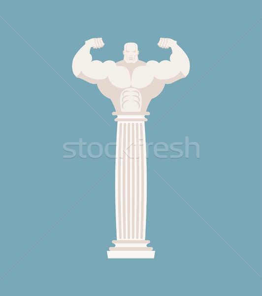 Greek column athlete. Strong architectural element for temple Stock photo © MaryValery