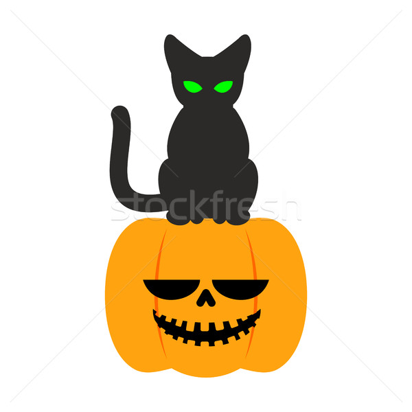 Pumpkin and black cat Halloween symbol. terrible holiday Stock photo © MaryValery