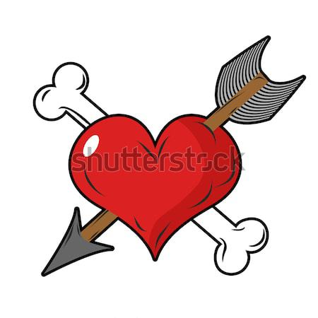 Coeur fort amour puissant sport barbell Photo stock © MaryValery