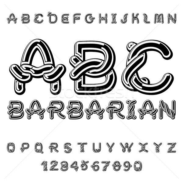 Barbarian font. norse medieval ornament Celtic ABC. Traditional  Stock photo © MaryValery