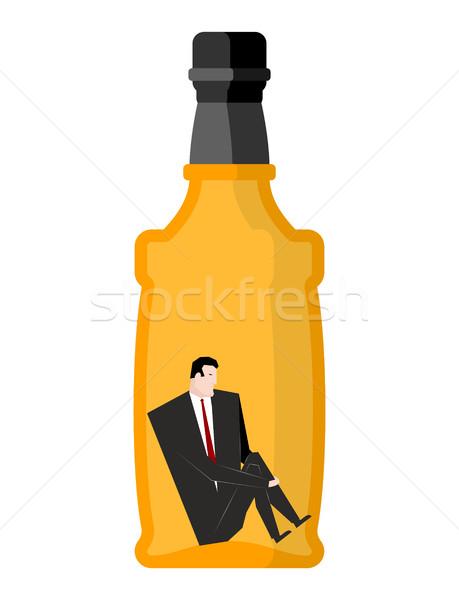 Férfi bent üvegek üzletember ül üres Stock fotó © MaryValery