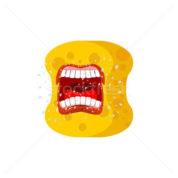 Esponja gritar emoções gritar amarelo avatar Foto stock © MaryValery