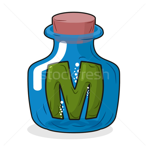 M in bottle. Green letter in blue glass jar. Magic potion bottle Stock photo © MaryValery