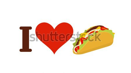 I hate taco. Fuck symbol of hatred and Mexican fast food. Logo f Stock photo © MaryValery