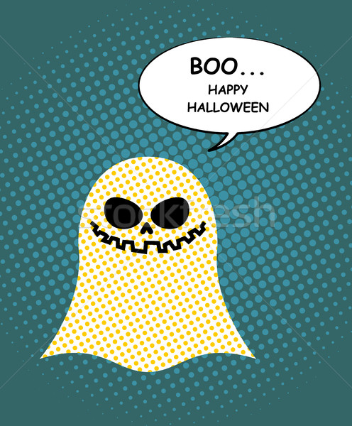 Boo Happy Halloween. Ghost of pop art and bubble. Pretty good gh Stock photo © MaryValery