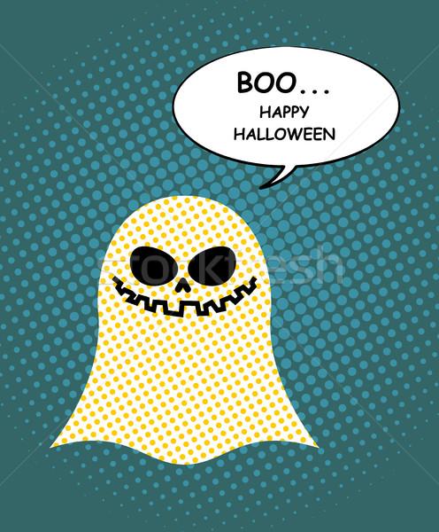 Felice halloween fantasma pop art bolla bella Foto d'archivio © MaryValery