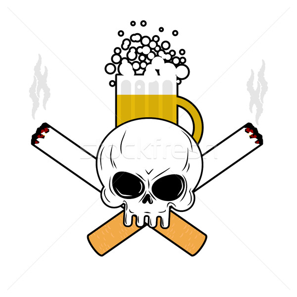 Skull and beer and crossbones cigarettes. Smoking and Alcohol le Stock photo © MaryValery
