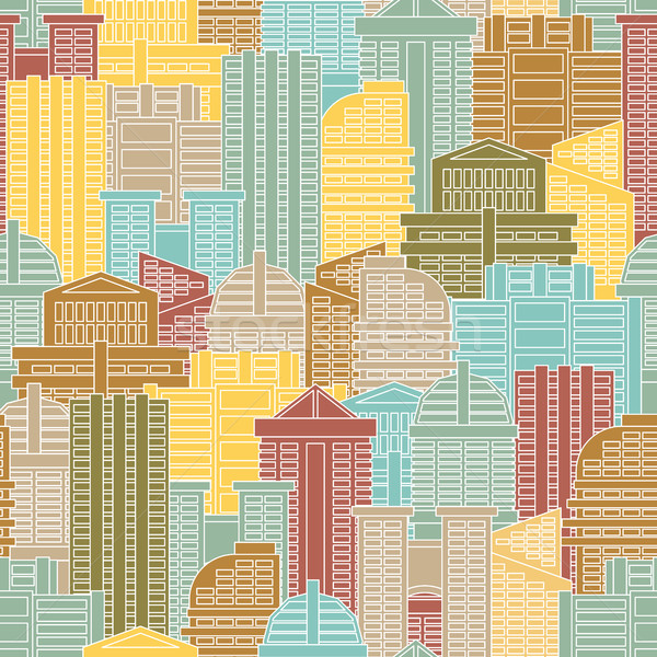 Urban seamless pattern. Colorful buildings in city, metropolis.  Stock photo © MaryValery