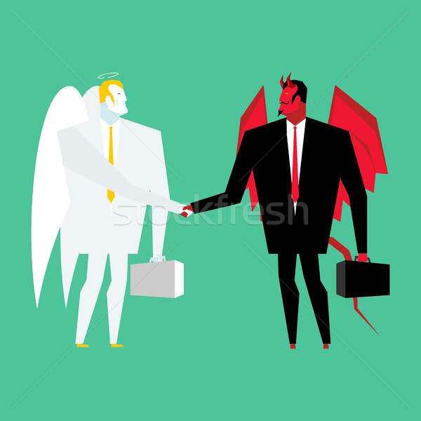 Diabeł anioł działalności wiele szatan boga Zdjęcia stock © MaryValery