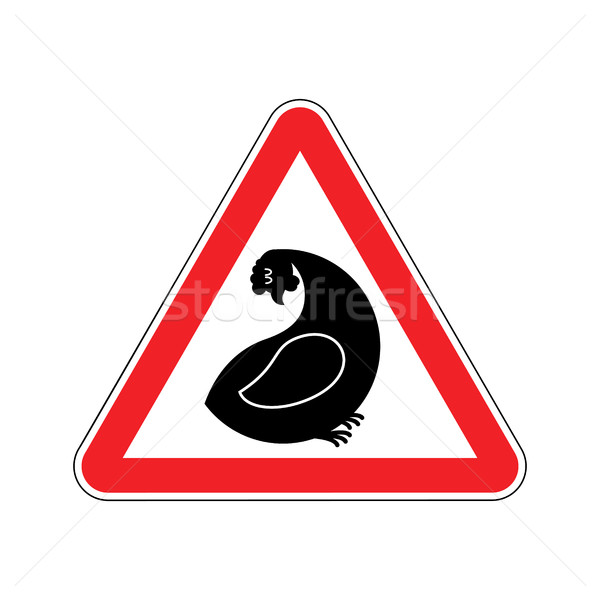 Attention hen. Dangers of red road sign. Chicken farm Caution Stock photo © MaryValery