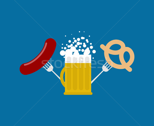 Mug bière saucisse bretzel logo oktoberfest Photo stock © MaryValery