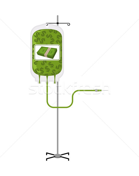 Stock photo: Donation money bag on Drip stand. Transfusion of cash finances.