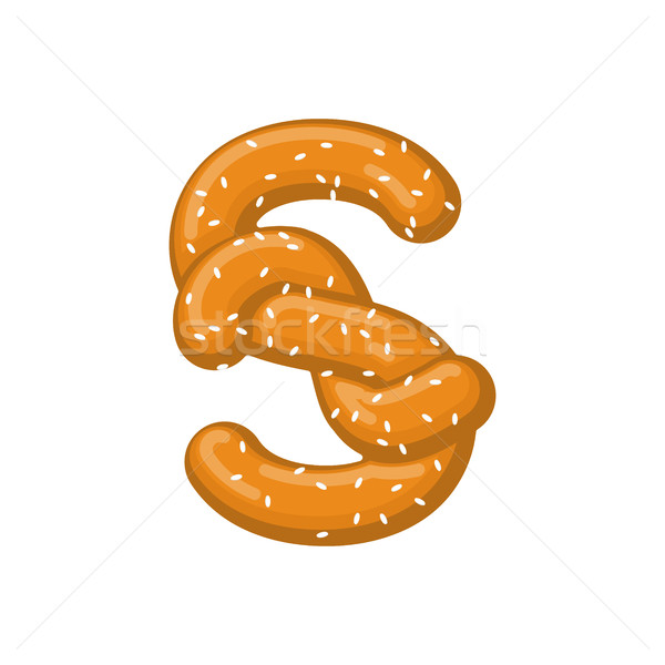 Letter S pretzel. snack font symbol. Food alphabet sign. Traditi Stock photo © MaryValery