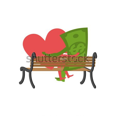 Love and money in cafe. Selling love. Dollar and heart sitting a Stock photo © MaryValery