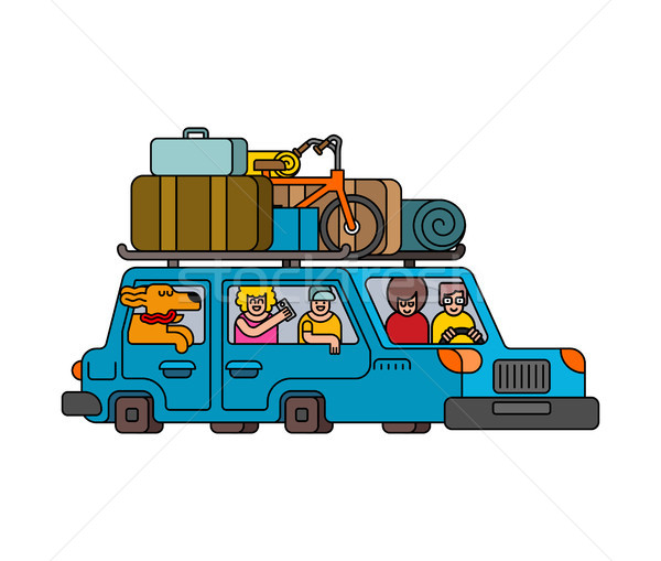 Car for weekend outline style. Family go to camping line style.  Stock photo © MaryValery