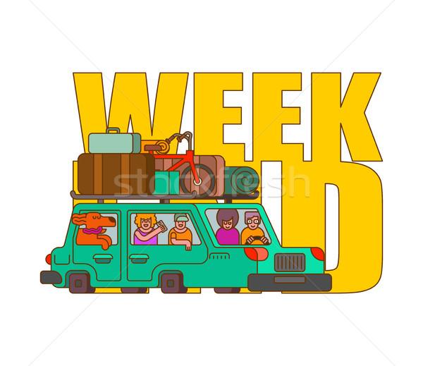 Carro fim de semana estilo família camping Foto stock © MaryValery