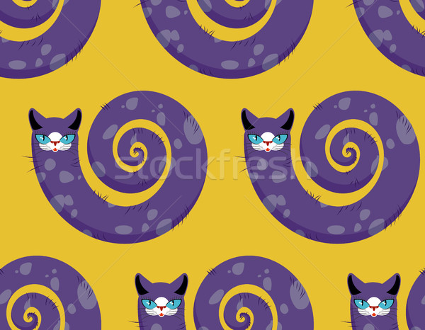 Purple Cat seamless pattern. Fabulous animals vector background. Stock photo © MaryValery