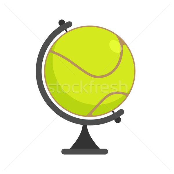Tennis ball Globe. World game. Sports accessory as earth sphere. Stock photo © MaryValery