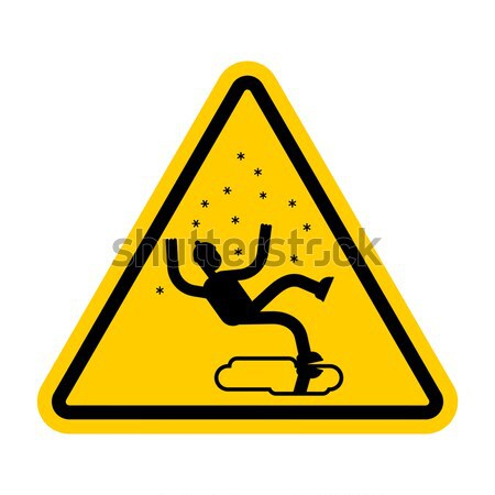 Attention bodybuilding. athlete on yellow triangle. Road sign Ca Stock photo © MaryValery