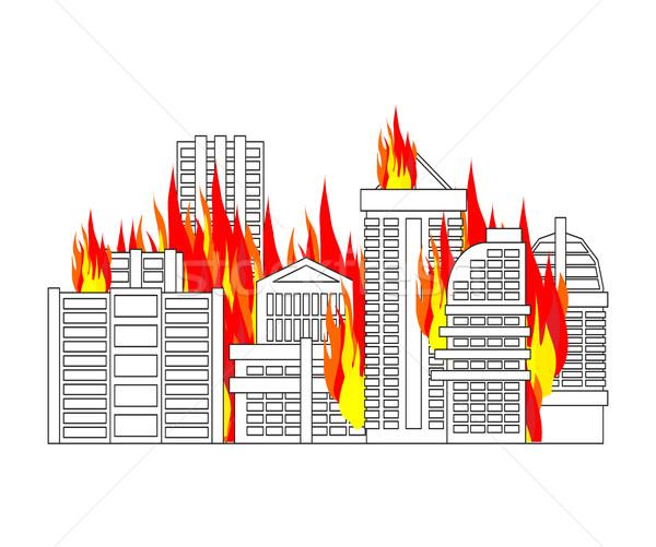 Città fuoco città fiamme edifici Foto d'archivio © MaryValery