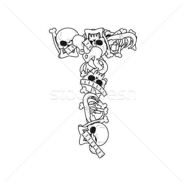Litera t szkielet kości chrzcielnica anatomii alfabet Zdjęcia stock © MaryValery
