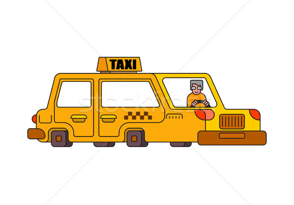 Taxi isolated style outline. Yellow Car Transportation of people Stock photo © MaryValery