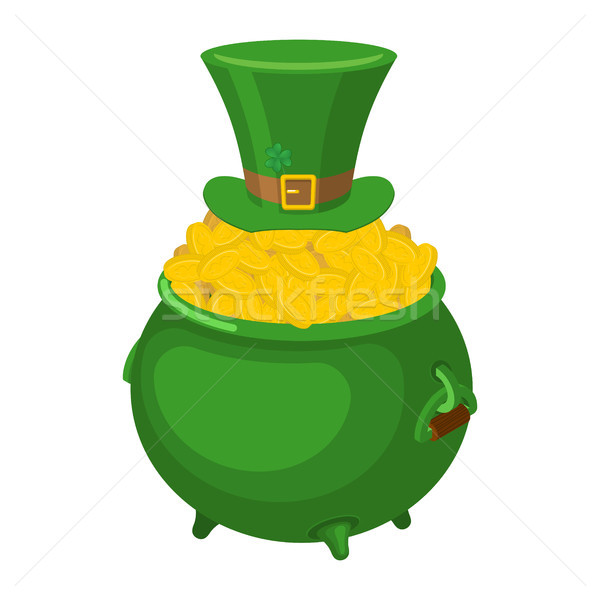 St. Patrick's Day. Leprechaun green hat and pot of gold. Magic d Stock photo © MaryValery