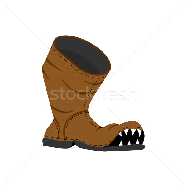 Broken shoes. Monster Old boots with teeth. Hole in boot. Stock photo © MaryValery