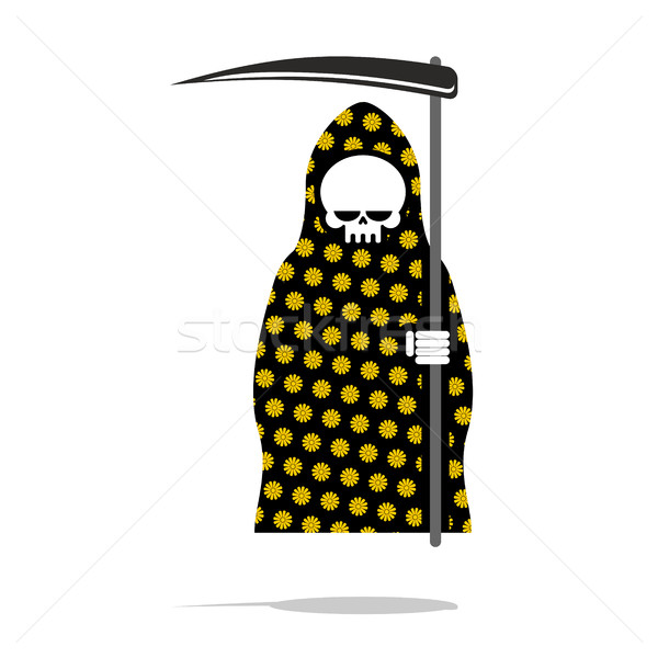 Death in black Pajamas with yellow flowers. Grim Reaper in hood  Stock photo © MaryValery