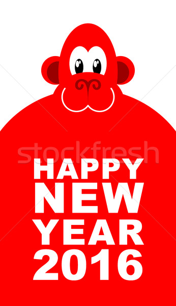 Happy new year. Chinese new year red monkey. Big cute monkey. Ve Stock photo © MaryValery