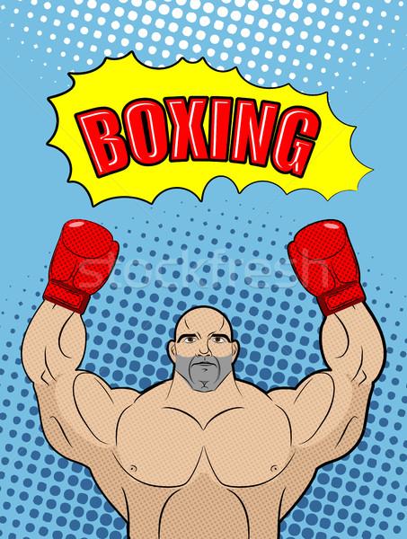Box bajnok stílus pop art doboz atléta Stock fotó © MaryValery