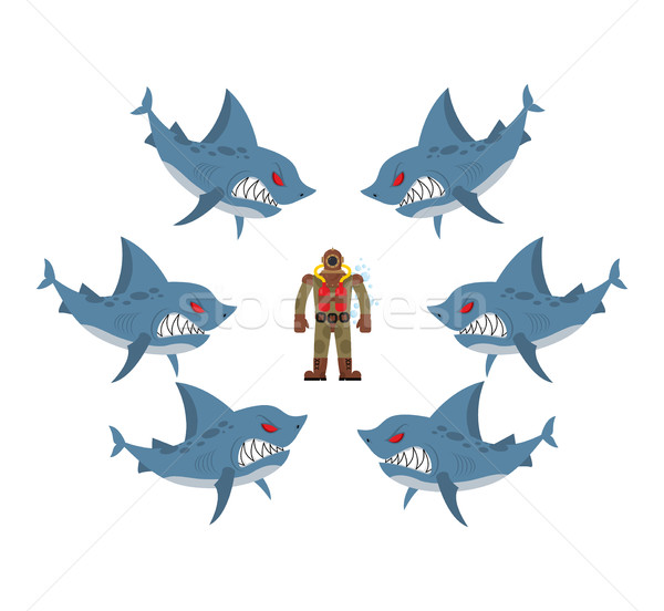 Angry sharks surrounded man in old diving suit. Fear, hopeless s Stock photo © MaryValery