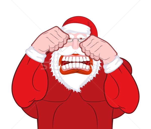 Santa Claus fights. Father Christmas beats fists. Old man knuckl Stock photo © MaryValery