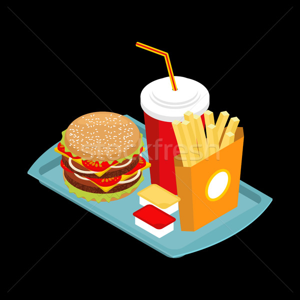 Fast food on tray. Hamburger and drink. French fries. Ketchup an Stock photo © MaryValery