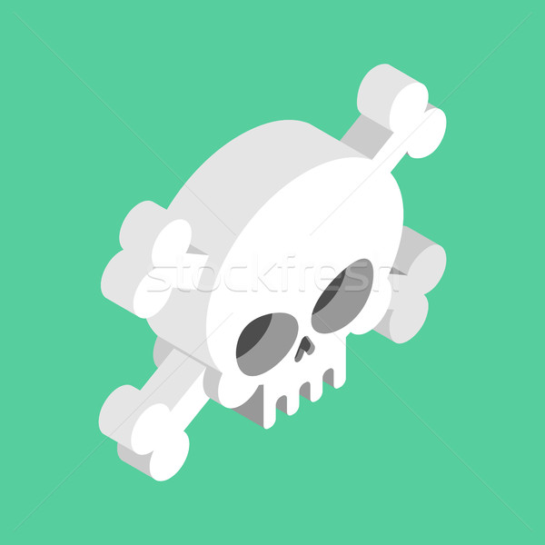 Skull and crossbones isolated. pirate Danger sign. skeleton head Stock photo © MaryValery