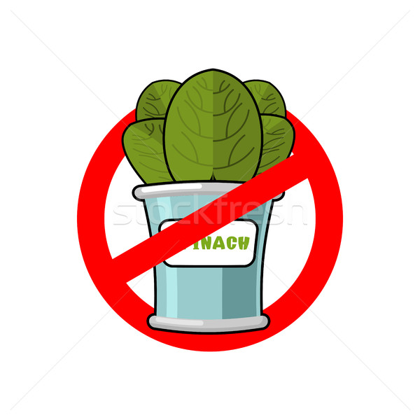 Stop spinach. Ban red sign. Prohibited green leaves Stock photo © MaryValery