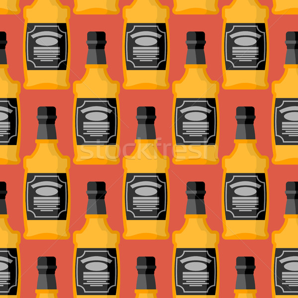 Bottle of whiskey seamless pattern. Bourbon ornament. Tequila te Stock photo © MaryValery