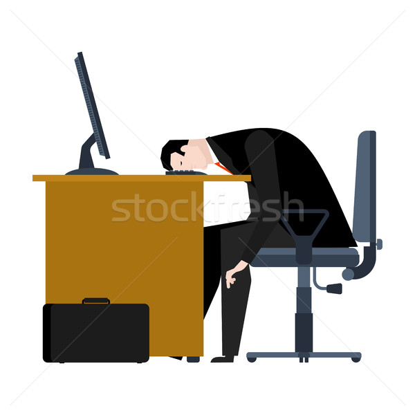 Businessman tired of work. head is on table. manager is weary. O Stock photo © MaryValery