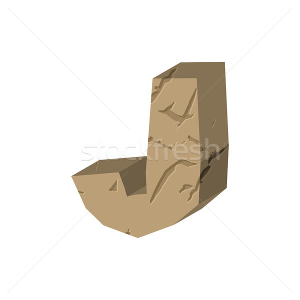 Letter J stone font. Rock alphabet symbol. Stones crag ABC sign Stock photo © MaryValery