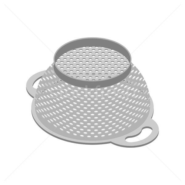 Stock photo: Colander isolated isometry. Pastafarianism cap. Cooking utensils