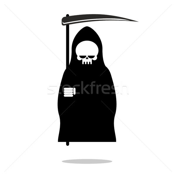 Grim Reaper  with scythe. Death in  black hood cloak. Icon for H Stock photo © MaryValery