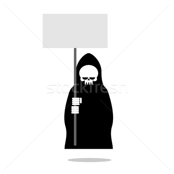 Death with an blank paper over head. Grim Reaper in black clothe Stock photo © MaryValery