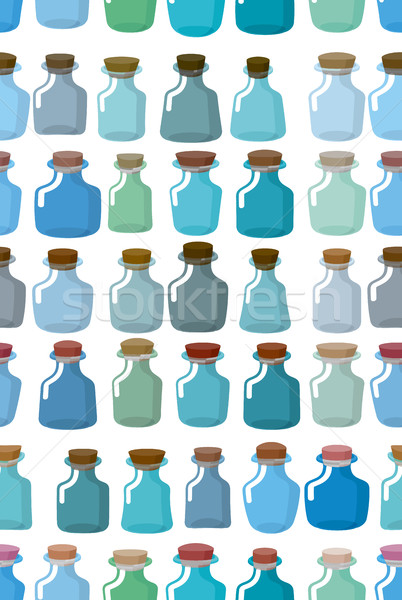 Magic glass empty bottle seamless pattern. Vector background fro Stock photo © MaryValery