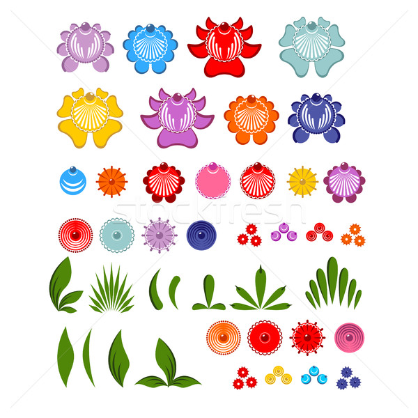 Gorodets painting set of elements Flowers and leaves. Russian na Stock photo © MaryValery