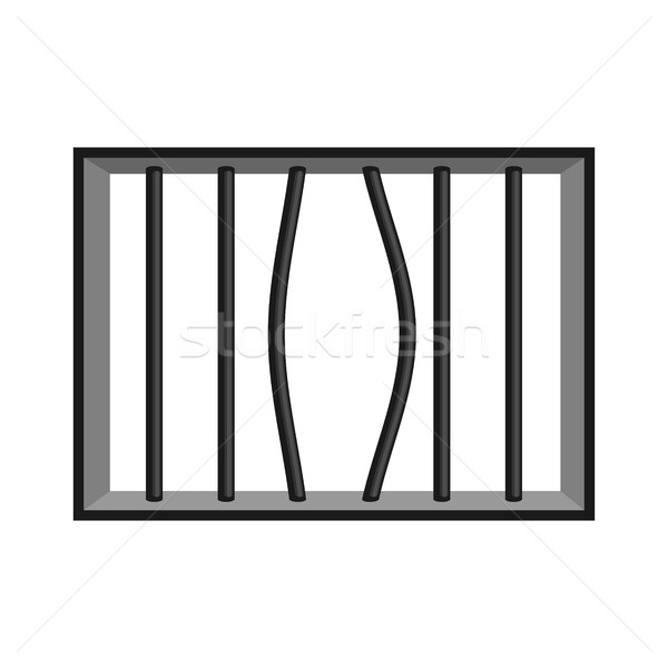 Stock photo: Prison grill isolated. Window in prison with bars. Jail break
